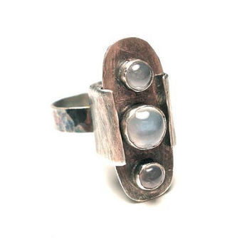 The Moon Box Ring- Apothecary Poison Style Locket Ring with Moonstones in Sterling Silver- Size 6