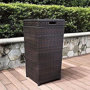 Garden Palm Harbor Outdoor Wicker Trash Bin Brown