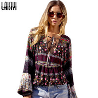 Laisiyi 2017 Women V Neck Boho Print Cotton Blouses Shirt Sexy Lantern Sleeve Cool Blouse Vintage Summer Tops Blusas ASBL20039