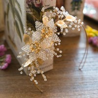 Handmade Beaded Gold Plated Rhinestone Crown Tiara Cosplay