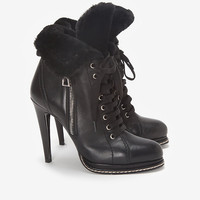 Barbara Bui Shearling Fur Lined Lace Up High Heel Boots-All Weather-Boots-Shoes-Categories- IntermixOnline.com