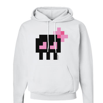 Retro 8-Bit Skull with Pink Bow Hoodie Sweatshirt
