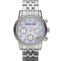 Mid-Size Silver Color Stainless Steel Ritz Chronograph Glitz Watch - Michael Kors