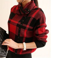 2014 New Autumn Winter Turtleneck Plaid Knitted Sweater Oblique Button Dero Women Long Sleeve blusas de inverno Pullovers HZ121