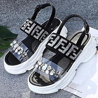 FENDI Summer Fashionable Women Thick Sole Diamond Sandals Shoes Silvery