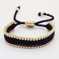 Link Friendship Bracelet - Black with Gold Links (One Direction)