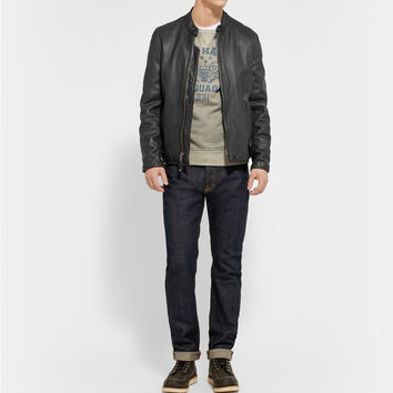 Schott - Vintage-Effect Leather Café Racer Jacket | MR PORTER