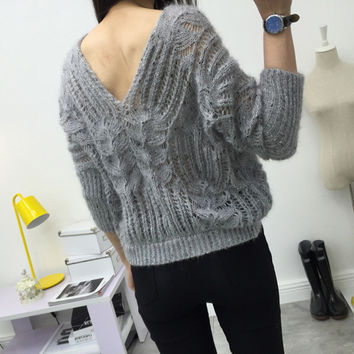 Hollow Out Knit Tops V-neck Batwing Sleeve Sexy Backless Sweater [9255939335]