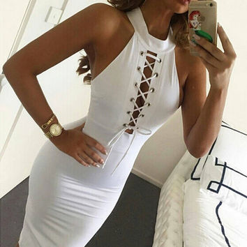 Fashion Female Solid Color Half Open Chest Hollow Crisscross Drawstring Halter Sleeveless Tight Mini Dress