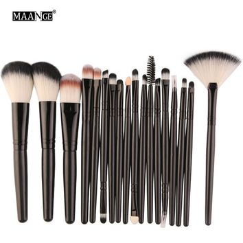 MAANGE Pro 18Pcs Makeup Brushes Set  Powder Foundation Blush Eyeshadow Eyeliner Lip Beauty Make up Brush Tools
