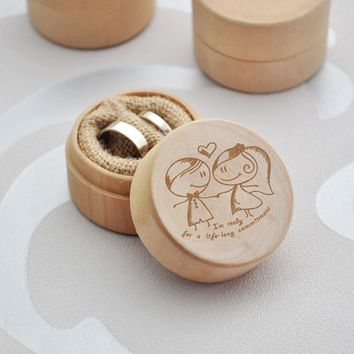 """""""I'm ready for a life-long commitment"""" Delicate Wood Creative Ring Box Rustic Wedding Ring Jewelry Box Valentine's Day Gift for"""