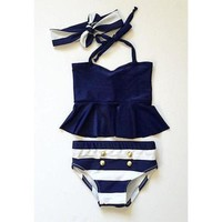 DKF4S GLANE Brief 2017 New Kids Baby Girls Bikini Suit Navy Swimsuit Swimwear Bathing Swimming Clothes Two piece suit Beach Summer
