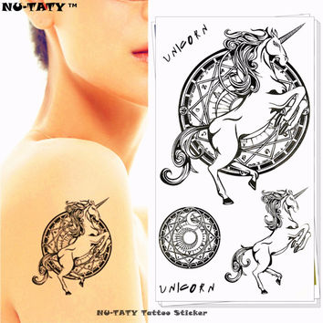 Nu-TATY Unicorn Pegasus Horse Temporary Tattoo Body Art Arm Flash Tattoo Stickers 17*10cm Waterproof Fake Henna Painless Tattoo