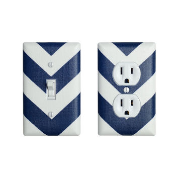 Chevron Light Switch Plate & Outlet Cover SET / Navy Blue and White / Zig Zags / Storm Grey Premier Prints / Slightly Smitten Kitten