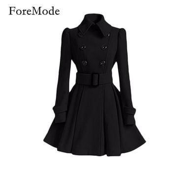 ForeMode Winter Belt Buckle Mid-Long Trench Coat Double-breasted Coat  Long Sleeve Casual Dresses Long Trench Coat for Women
