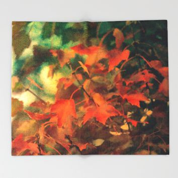Fall Blanket Of Leaves Throw Blanket by Theresa Campbell D'August Art