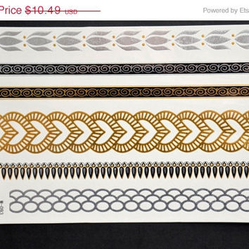 SALE! Metallic Gold Silver and Black Temporary Tattoo Jewelry - Flash Tattoo - Easy Application Jewelry Body Ink Art Bracelet Armband