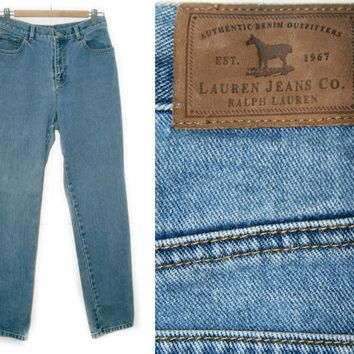 Vintage Ralph Lauren Jeans~Waist 30~Size 6~90s High Waisted Medium Wash Blue Denim Pan