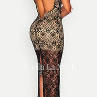Lace Nude Illusion Plunging Back Maxi Dress