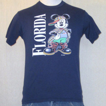 Vintage Soft 80s MICKEY MOUSE DISNEY Hip Hop Florida Graphic Women Small Thin T-Shirt