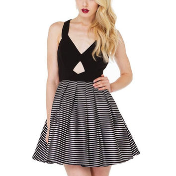 Black Striped Pleated Skater Dress with Cutout