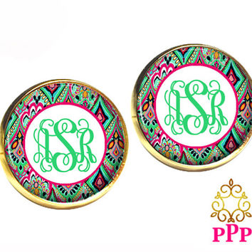 Monogram Stud Earrings Personalized Custom Jewelry Style 697