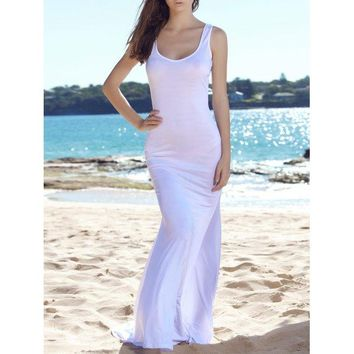 Fitted Long Tight Fishtail Floor Length Maxi Tank Dress