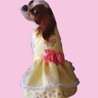 Yellow Butterfly Dog Dress  Spring Dog Dress Dog Clothes