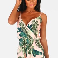 Sinita Pink Leaf Print Wrap Playsuit