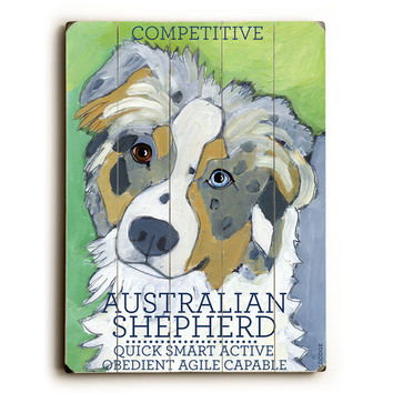 Australian Shepherd by Artist Ursula Dodge Wood Sign
