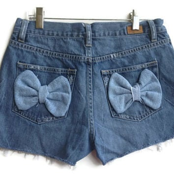 "High Waisted Denim Bow Shorts Size 4/5 28"" Waist"
