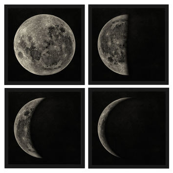 Moon Phases Diptych, Original Vintage Prints