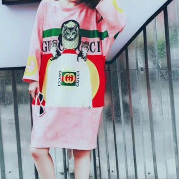 GUCCI Summer Cat Head Letter Digital Print Breathable Cotton Dress I-CY-MN