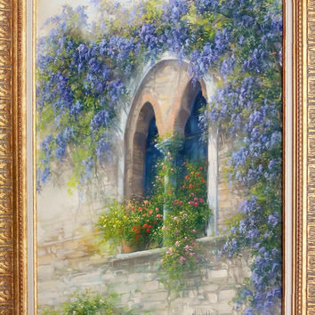 Italian painting old window with flowers (Bifora) originaloil on canvas of Antonietta Varallo Italy Italia