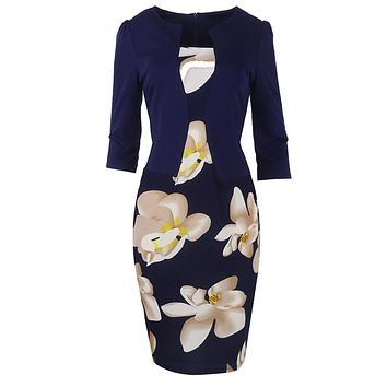 One piece floral print business work dress ~ Plus size available