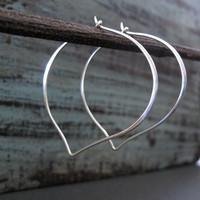Large Sterling Silver Lotus Hoop Earrings