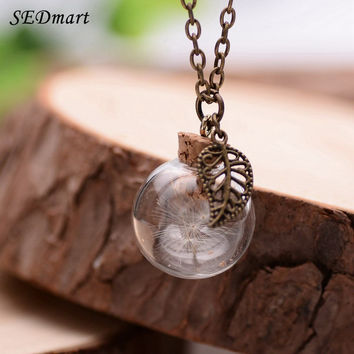 SEDmart Real Dandelions Wish Bottle Pendant Necklace For Women Glass Locket Bronze Real Plants Charming Irish Botanical Necklace