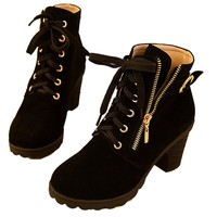 Hee Grand Women Thick Platform Heels Lace Up Boots