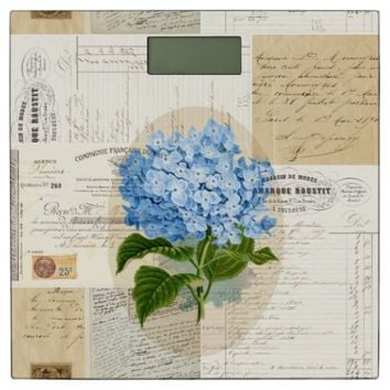 Blue Hydrangea French Writing Bathroom Scale