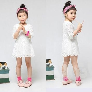 Trendy Baby Girls Summer Party Lace Dress Kid Toddler Floral Half Sleeve Dress