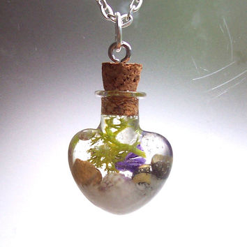 Shells in Bottle Glass  Heart Mermaid Vial Beach Terrarium Necklace