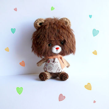 Teddy bear, Mini grizzly  ,Gift,softie toi, plush toy, amigurumi crochet, stuffed doll, bear with dress