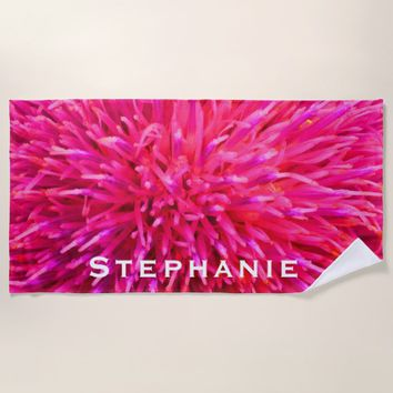 Hot Pink Abstract Beach Towel with White Name