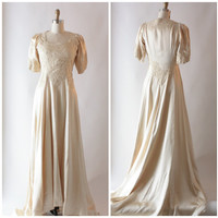 1940s champagne satin and Alençon lace wedding gown