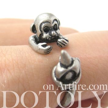 Monkey Animal Wrap Ring with Banana in Silver - Sizes 4 to 9 Available