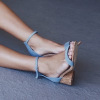 Sight Seeing Blue Denim Open Toe Heels