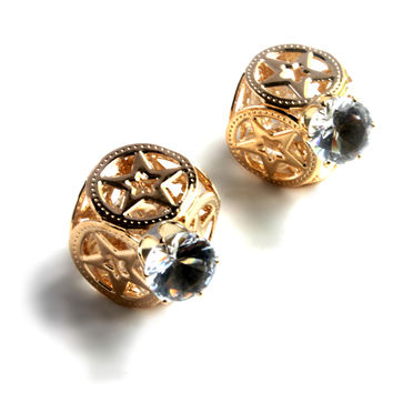 """Stud Double"" Gold And Diamond Accent Stud Earrings"