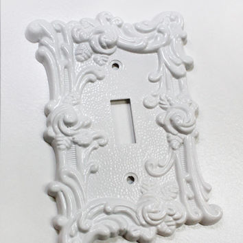 Metal Light Switch Cover / Wall Plate / White Shabby Chic / Roses/ Decorative Home Accents