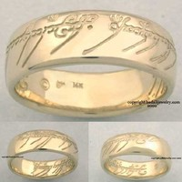 14k. Yellow Gold The One Ring - Lord of the Rings Jewelry