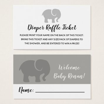 Grey & White Elephant Diaper Raffle Ticket